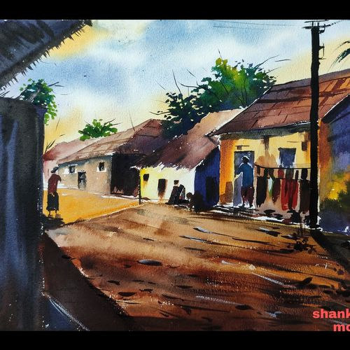 indian village, 15 x 11 inch, shankhadeep  mondal,15x11inch,handmade paper,paintings,landscape paintings,paintings for dining room,paintings for living room,paintings for office,paintings for bathroom,paintings for kids room,paintings for hotel,paintings for kitchen,paintings for school,paintings for hospital,watercolor,GAL01403042349