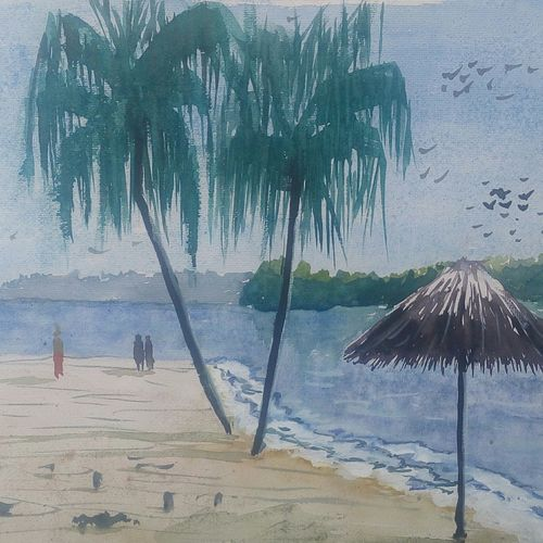 sea beach, 16 x 11 inch, satyabrata parhi,nature paintings,paintings for living room,thick paper,watercolor,16x11inch,GAL011634235Nature,environment,Beauty,scenery,greenery,beautiful,sunrise,sun,water,river,lake,clouds,trees,leaves,coconut trees