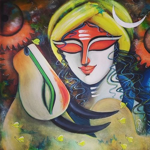 rishabhnath (p-5), 24 x 24 inch, susmita mandal,24x24inch,canvas,paintings,religious paintings,paintings for living room,paintings for bedroom,paintings for office,paintings for hotel,acrylic color,GAL01940542352