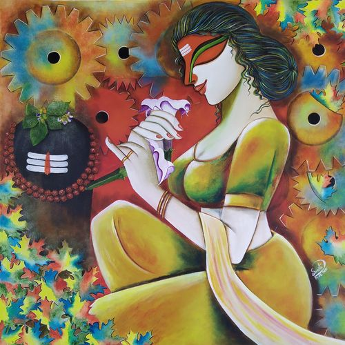 shivangi 2, 32 x 34 inch, susmita mandal,32x34inch,canvas,paintings,religious paintings,paintings for living room,paintings for hotel,acrylic color,GAL01940542353