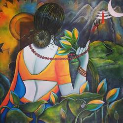 shivangi 2, 32 x 34 inch, susmita mandal,32x34inch,canvas,paintings,religious paintings,paintings for living room,paintings for hotel,acrylic color,GAL01940542354