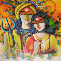 espousal 2, 32 x 49 inch, susmita mandal,32x49inch,canvas,paintings,religious paintings,paintings for living room,paintings for bedroom,paintings for office,paintings for hotel,acrylic color,GAL01940542356