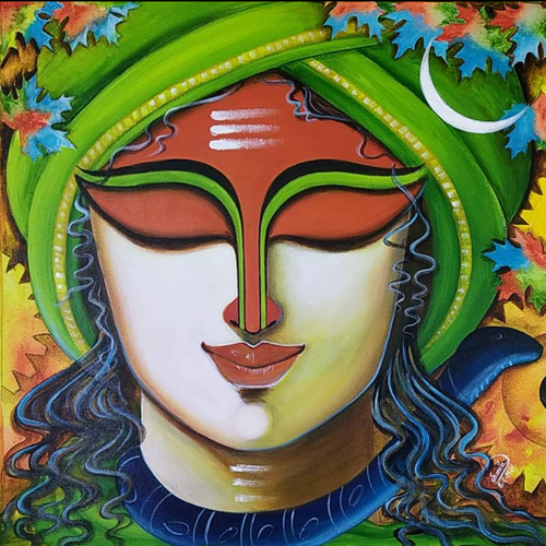 someshwara 2, 24 x 24 inch, susmita mandal,24x24inch,canvas,paintings,religious paintings,paintings for living room,paintings for bedroom,paintings for office,paintings for hotel,acrylic color,GAL01940542357