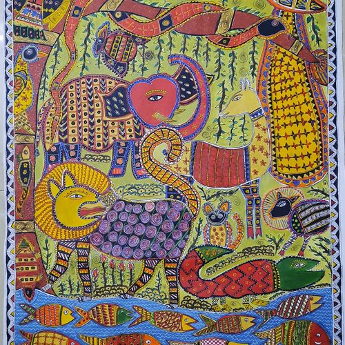 jungle, 24 x 36 inch, lakshmi menon,24x36inch,canvas,paintings,wildlife paintings,folk art paintings,animal paintings,madhubani paintings | madhubani art,paintings for dining room,paintings for living room,paintings for bedroom,paintings for bathroom,paintings for kids room,paintings for hotel,paintings for school,paintings for hospital,paintings for dining room,paintings for living room,paintings for bedroom,paintings for bathroom,paintings for kids room,paintings for hotel,paintings for school,paintings for hospital,acrylic color,pen color,GAL02888742360