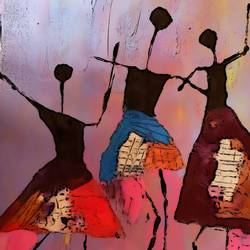 warli painting: dancing girls, 12 x 17 inch, lakshmi muralidharan,12x17inch,thick paper,paintings,abstract paintings,figurative paintings,modern art paintings,warli paintings,paintings for living room,paintings for office,paintings for hotel,paintings for school,photo ink,paper,GAL02940742361