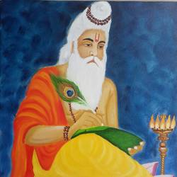 lord valmiki, 18 x 24 inch, mrs. bharti  rajput,18x24inch,canvas,paintings,religious paintings,paintings for dining room,paintings for living room,paintings for office,paintings for kids room,paintings for hotel,paintings for hospital,oil color,GAL02280442367