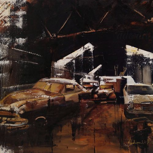 living in a garage, 28 x 36 inch, adwait khot,28x36inch,canvas,paintings,abstract paintings,cityscape paintings,landscape paintings,modern art paintings,still life paintings,nature paintings | scenery paintings,abstract expressionism paintings,art deco paintings,impressionist paintings,photorealism paintings,street art,surrealism paintings,contemporary paintings,realistic paintings,paintings for dining room,paintings for living room,paintings for bedroom,paintings for office,paintings for kids room,paintings for hotel,paintings for school,paintings for hospital,acrylic color,GAL01329442376