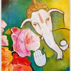 flower ganesha, 8 x 12 inch, a.b.  kaser,8x12inch,thick paper,paintings,abstract paintings,figurative paintings,flower paintings,religious paintings,expressionism paintings,ganesha paintings | lord ganesh paintings,paintings for dining room,paintings for living room,paintings for office,paintings for kids room,paintings for school,acrylic color,GAL063642378