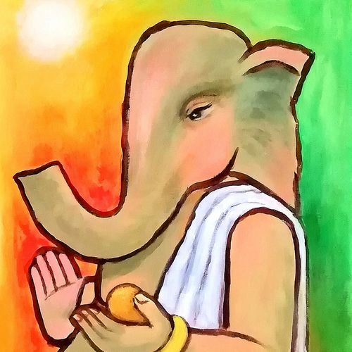 ganesha , 8 x 12 inch, a.b.  kaser,8x12inch,thick paper,paintings,figurative paintings,religious paintings,expressionism paintings,ganesha paintings | lord ganesh paintings,contemporary paintings,children paintings,paintings for dining room,paintings for living room,paintings for office,paintings for kids room,paintings for school,paintings for hospital,acrylic color,GAL063642380