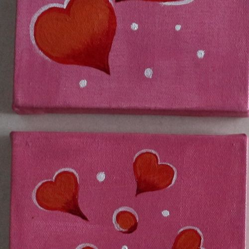 multi piece painting set of 3, 5 x 5 inch, yashashree kulkarni,5x5inch,canvas,paintings,multi piece paintings,love paintings,paintings for bedroom,paintings for hotel,acrylic color,fabric,GAL03018142383