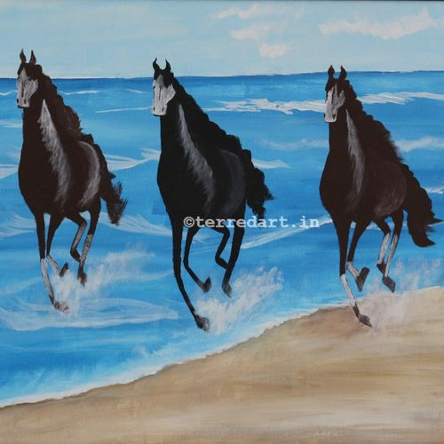 horses on beach, 32 x 24 inch, yashashree kulkarni,32x24inch,canvas,paintings,landscape paintings,animal paintings,horse paintings,paintings for living room,paintings for hotel,paintings for school,paintings for hospital,acrylic color,fabric,GAL03018142385