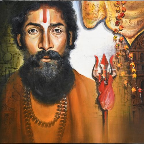 benaras sadhu , 48 x 36 inch, indrajit karmakar,48x36inch,canvas,paintings,religious paintings,portrait paintings,paintings for dining room,paintings for living room,paintings for bedroom,paintings for office,paintings for hotel,acrylic color,GAL02980942386