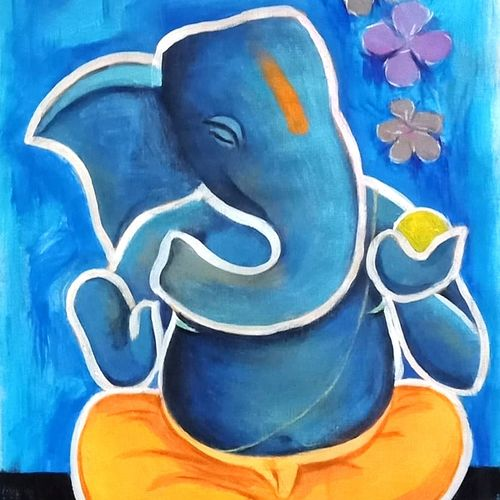 ganesha, 8 x 12 inch, a.b.  kaser,8x12inch,thick paper,paintings,abstract paintings,figurative paintings,religious paintings,expressionism paintings,ganesha paintings | lord ganesh paintings,contemporary paintings,paintings for dining room,paintings for living room,paintings for office,paintings for kids room,paintings for school,acrylic color,GAL063642389