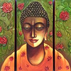 serene buddha, 45 x 30 inch, ruhi  chopra,buddha paintings,paintings for living room,canvas,acrylic color,45x30inch,religious,peace,meditation,meditating,gautam,goutam,buddha,lord,face,orange,flowers,GAL015154239