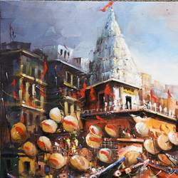 benaras ghat ii, 28 x 20 inch, indrajit karmakar,28x20inch,canvas,paintings,landscape paintings,religious paintings,paintings for dining room,paintings for living room,paintings for bedroom,paintings for office,paintings for hotel,acrylic color,GAL02980942390