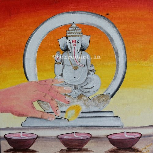ganesha, 12 x 16 inch, yashashree kulkarni,12x16inch,canvas,paintings,figurative paintings,religious paintings,paintings for living room,paintings for hotel,paintings for school,paintings for hospital,acrylic color,fabric,GAL03018142393