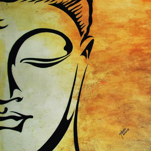 buddha with orange shade, 22 x 12 inch, nitesh suthar,buddha paintings,paintings for living room,drawing paper,watercolor,22x12inch,religious,peace,meditation,meditating,gautam,goutam,buddha,orange,GAL08464240
