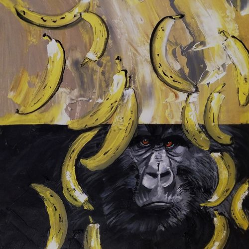 better be bananas, 30 x 54 inch, adwait khot,30x54inch,canvas,paintings,abstract paintings,wildlife paintings,modern art paintings,nature paintings | scenery paintings,impressionist paintings,surrealism paintings,contemporary paintings,paintings for dining room,paintings for living room,paintings for bedroom,paintings for office,paintings for kids room,paintings for kitchen,acrylic color,GAL01329442405