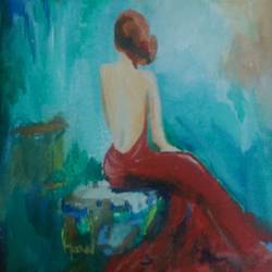 evening date, 20 x 25 inch, srav anthi,figurative paintings,paintings for bedroom,canvas,fabric,20x25inch,GAL015174242