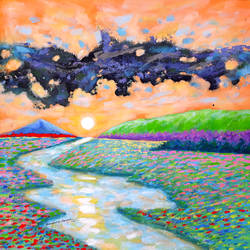 saffron sky and sunrise (landscape) , 18 x 18 inch, sandeep rawal ,18x18inch,canvas,paintings,abstract paintings,flower paintings,landscape paintings,nature paintings | scenery paintings,contemporary paintings,water fountain paintings,paintings for dining room,paintings for living room,paintings for bedroom,paintings for office,paintings for bathroom,paintings for kids room,paintings for hotel,paintings for kitchen,paintings for school,paintings for hospital,acrylic color,GAL0251142420