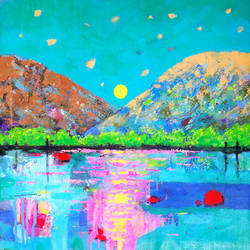 sea green sky and sunrise (landscape) , 18 x 18 inch, sandeep rawal ,18x18inch,canvas,paintings,abstract paintings,flower paintings,landscape paintings,modern art paintings,nature paintings | scenery paintings,contemporary paintings,water fountain paintings,paintings for dining room,paintings for living room,paintings for bedroom,paintings for office,paintings for bathroom,paintings for kids room,paintings for hotel,paintings for kitchen,paintings for school,paintings for hospital,acrylic color,GAL0251142421
