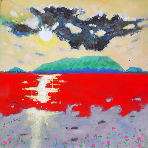 yellow sky and sunrise (landscape) , 18 x 18 inch, sandeep rawal ,18x18inch,canvas,paintings,abstract paintings,landscape paintings,modern art paintings,nature paintings | scenery paintings,contemporary paintings,water fountain paintings,paintings for dining room,paintings for living room,paintings for bedroom,paintings for office,paintings for bathroom,paintings for kids room,paintings for hotel,paintings for kitchen,paintings for school,paintings for hospital,acrylic color,GAL0251142422