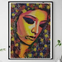 devi, 12 x 16 inch, suma sirisha,12x16inch,canvas,paintings,abstract paintings,figurative paintings,portrait paintings,abstract expressionism paintings,expressionism paintings,paintings for dining room,paintings for living room,paintings for bedroom,paintings for hotel,acrylic color,GAL03021542438