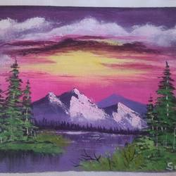 sunset scenery , 12 x 10 inch, sai amale ,12x10inch,canvas,paintings,landscape paintings,nature paintings | scenery paintings,paintings for dining room,paintings for living room,paintings for bedroom,paintings for office,paintings for hotel,paintings for kitchen,acrylic color,GAL02904142442