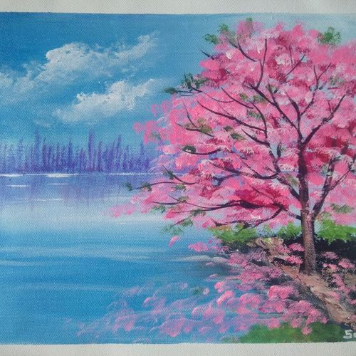 cherry blossom landscape , 12 x 10 inch, sai amale ,12x10inch,canvas,paintings,landscape paintings,nature paintings | scenery paintings,paintings for dining room,paintings for living room,paintings for bedroom,paintings for office,paintings for hotel,paintings for kitchen,acrylic color,GAL02904142443
