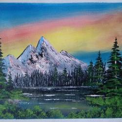 lake view mountain scenery , 12 x 10 inch, sai amale ,12x10inch,canvas,paintings,landscape paintings,nature paintings   scenery paintings,paintings for dining room,paintings for living room,paintings for bedroom,paintings for office,paintings for hotel,paintings for kitchen,acrylic color,GAL02904142444