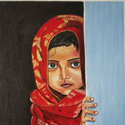 girl, 12 x 16 inch, manjula mair,12x16inch,canvas board,paintings,figurative paintings,acrylic color,GAL03022542448
