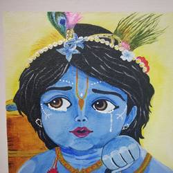little krishna, 10 x 12 inch, manjula mair,10x12inch,canvas board,paintings,religious paintings,acrylic color,GAL03022542458