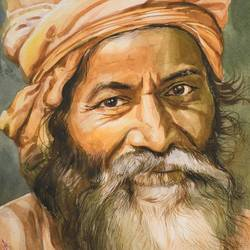 benaras sadhu portrait, 15 x 22 inch, indrajit karmakar,15x22inch,fabriano sheet,paintings,portrait paintings,paintings for dining room,paintings for living room,paintings for bedroom,watercolor,GAL02980942459