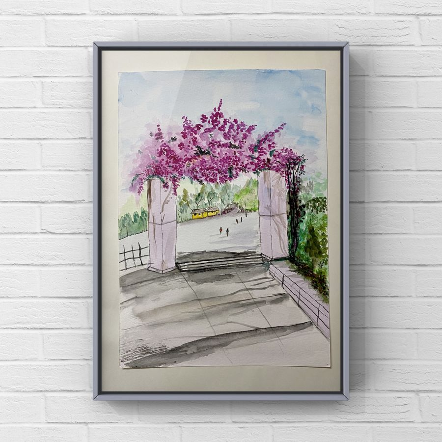 Watercolour painting of memory from childhood creepers on a gate of a compound