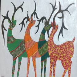 four deers gond painting, 16 x 20 inch, shubha shrivastava,16x20inch,canvas,folk art paintings,paintings for dining room,paintings for living room,paintings for bedroom,paintings for dining room,paintings for living room,paintings for bedroom,acrylic color,GAL02221342472