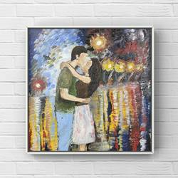 kiss painting, oil painting of a couple kissing in rain, 25 x 35 inch, deepika gautam,25x35inch,canvas,paintings,abstract paintings,figurative paintings,modern art paintings,abstract expressionism paintings,expressionism paintings,paintings for living room,paintings for bedroom,paintings for hotel,oil color,GAL02401042475