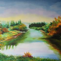 lake with greenary, 30 x 24 inch, indiarts india,30x24inch,canvas,paintings,landscape paintings,nature paintings | scenery paintings,paintings for dining room,paintings for living room,paintings for bedroom,paintings for bathroom,paintings for hotel,paintings for kitchen,acrylic color,GAL02992042486
