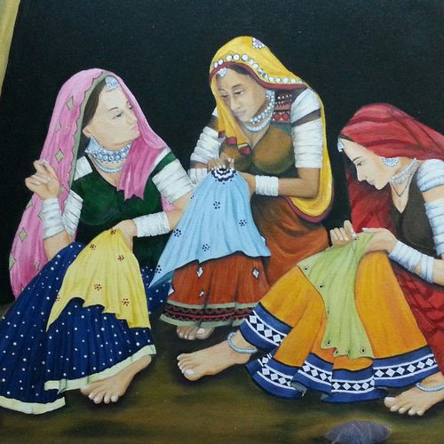 gossip, 36 x 24 inch, astaur art,36x24inch,canvas,figurative paintings,paintings for living room,paintings for living room,oil color,GAL03026842489