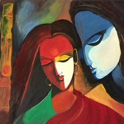 intimate, 24 x 24 inch, sonali sanpui,radha krishna paintings,paintings for bedroom,canvas,oil paint,24x24inch,GAL015144249