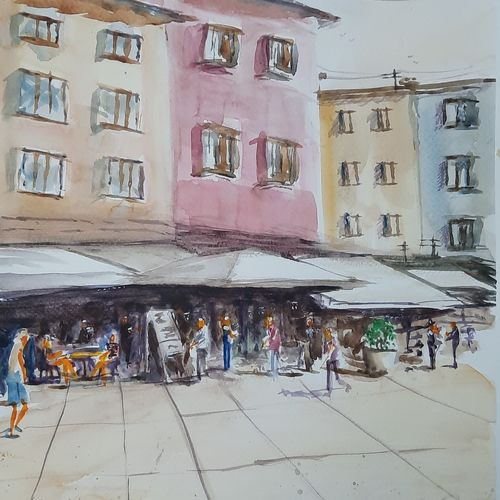 lunch in italy, 12 x 17 inch, anshuman sikka,12x17inch,canson paper,paintings,abstract paintings,figurative paintings,cityscape paintings,landscape paintings,illustration paintings,impressionist paintings,street art,contemporary paintings,paintings for dining room,paintings for living room,paintings for bedroom,paintings for office,paintings for kids room,paintings for hotel,paintings for kitchen,paintings for school,paintings for hospital,watercolor,GAL02997242496