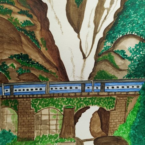 dudhsagar falls, 6 x 8 inch, ananya palchoudhury,6x8inch,brustro watercolor paper,landscape paintings,nature paintings | scenery paintings,paintings for living room,paintings for hotel,paintings for living room,paintings for hotel,watercolor,GAL02881042500