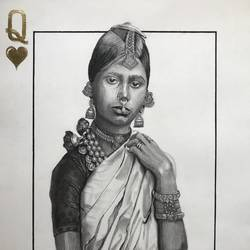 black and white queen, 22 x 30 inch, monica kharkar,22x30inch,canson paper,portraiture,paintings for dining room,paintings for living room,paintings for hotel,paintings for dining room,paintings for living room,paintings for hotel,charcoal,GAL03030542501