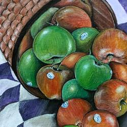 apple, 8 x 10 inch, poulami sen,8x10inch,canvas,still life paintings,acrylic color,GAL02960842502