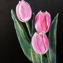 tulips , 8 x 10 inch, poulami sen,8x10inch,canvas,flower paintings,acrylic color,GAL02960842503