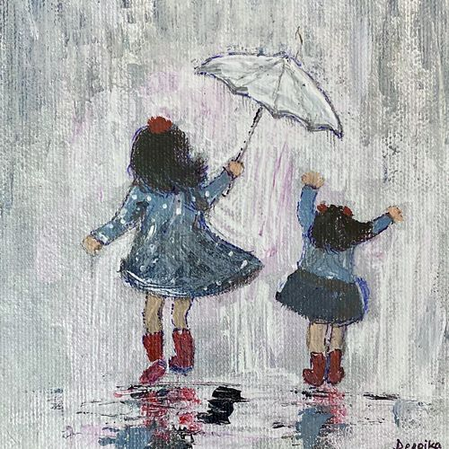 mini painting series: acrylic painting of two little girls running in rain, 6 x 6 inch, deepika gautam,6x6inch,canvas board,paintings,figurative paintings,portrait paintings,nature paintings | scenery paintings,realistic paintings,children paintings,paintings for dining room,paintings for living room,paintings for bedroom,paintings for office,paintings for bathroom,paintings for kids room,paintings for hotel,paintings for kitchen,paintings for school,paintings for hospital,acrylic color,GAL02401042508