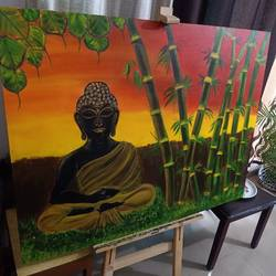 budhha with bamboos - a sunset scene, 48 x 36 inch, manisha das,48x36inch,canvas,paintings,abstract paintings,buddha paintings,flower paintings,landscape paintings,modern art paintings,religious paintings,portrait paintings,nature paintings | scenery paintings,abstract expressionism paintings,contemporary paintings,lord shiva paintings,paintings for dining room,paintings for living room,paintings for bedroom,paintings for office,paintings for kids room,paintings for hotel,paintings for kitchen,paintings for school,paintings for hospital,acrylic color,mixed media,GAL03032742510