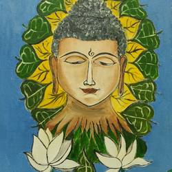 the serenity buddha, 18 x 24 inch, mythili bhavirisetty,18x24inch,canvas,paintings,buddha paintings,paintings for living room,paintings for office,paintings for kids room,paintings for school,oil color,GAL03032842516