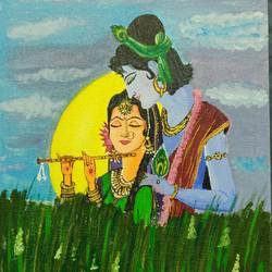 radha krishna magical moment, 12 x 16 inch, mythili bhavirisetty,12x16inch,canvas,paintings,radha krishna paintings,paintings for living room,paintings for bedroom,paintings for hotel,paintings for living room,paintings for bedroom,paintings for hotel,acrylic color,GAL03032842519