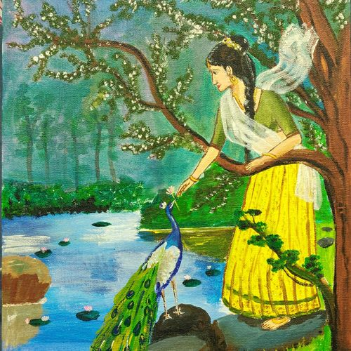 peacock admirer, 12 x 16 inch, mythili bhavirisetty,12x16inch,canvas,paintings,nature paintings | scenery paintings,paintings for dining room,paintings for living room,paintings for bedroom,paintings for office,paintings for kids room,paintings for hotel,paintings for school,paintings for dining room,paintings for living room,paintings for bedroom,paintings for office,paintings for kids room,paintings for hotel,paintings for school,acrylic color,GAL03032842520