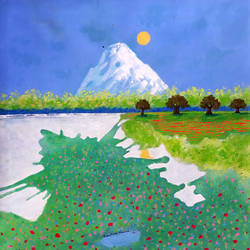 the icy mountain and green valley (landscape) , 18 x 18 inch, sandeep rawal ,18x18inch,canvas,paintings,abstract paintings,landscape paintings,modern art paintings,nature paintings | scenery paintings,art deco paintings,contemporary paintings,water fountain paintings,paintings for dining room,paintings for living room,paintings for bedroom,paintings for office,paintings for bathroom,paintings for kids room,paintings for hotel,paintings for kitchen,paintings for school,paintings for hospital,acrylic color,GAL0251142522